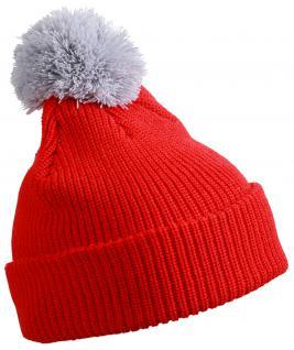 PUDELMÜTZE Strickmütze Wollmütze - 41668 rot-weiß
