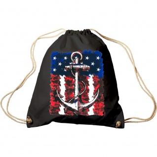 Sporttasche Turnbeutel Trend-Bag Print Maritim Anchor Anker USA Flagge TB12128 schwarz