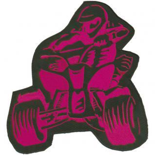 Rückenaufnäher- Quadfahrer - 88566 pink - Gr. ca. 23 x 25 cm - Patches Stick Applikation