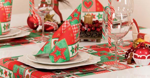 3 Mitteldecken und 20 Servietten im Sparpaket - Gr. 80x80cm - Stern- Herz- Elchmotiv - Weihnachtsfest - 29652