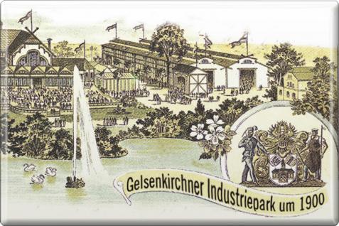 Küchenmagnet - Gelsenkirchener Industriepark - Gr. ca. 8 x 5, 5 cm - 38249 - Magnet Kühlschrankmagnet