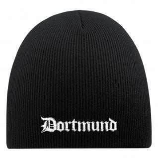 Beanie-Mütze mit Einstickung - DORTMUND - Wollmütze Wintermütze Strickmütze - 54821 schwarz