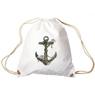 Sporttasche Turnbeutel Trend-Bag Print Maritim Anker Anchor TB10987 weiß