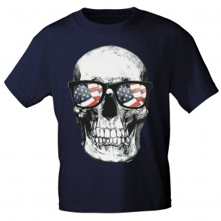 T-SHIRT Print Totenkopf Skull USA Amerika 10982 Gr. Navy / M
