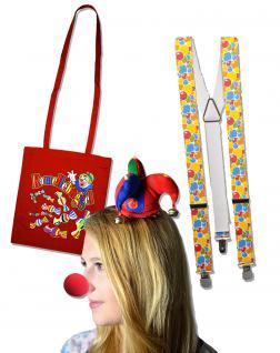 Karnevals Faschings- Set 4-teilig Clown-Wackelhut Clownnase Hosenträger und Kamellebüggel - 60890
