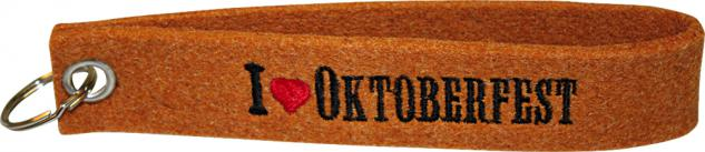 Filz-Schlüsselanhänger mit Stick I love Oktoberfest Gr. ca. 19x3cm 14001 rostrot1
