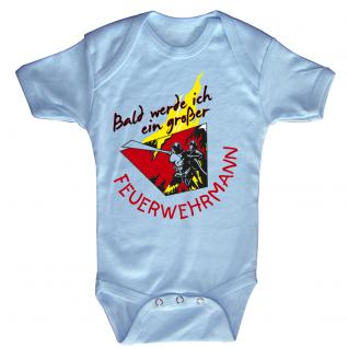 Babystrampler mit Print ? Bald werde ich ein großer Feuerwehrmann - 08487 hellblau Gr. 0-24 Monate