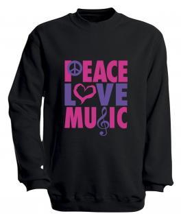 Sweatshirt mit Print - Peace Love Musik - S09017 - versch. farben zur Wahl - Gr. schwarz / XL - Vorschau 3