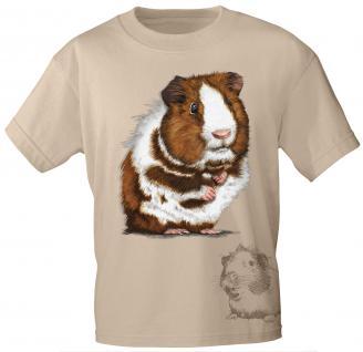 Kinder T-Shirt mit Print - Meerschweinchen - 10929 - sandfarben - Gr. 122/128