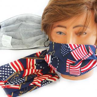 Design Maske aus Baumwolle mit zertifiziertem Innenvlies - USA Amerika Flagge - 15476 + Gratiszugabe - Vorschau 2
