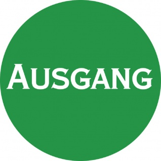PVC-Aufkleber - AUSGANG - Durchmesser 70 mm - 308047/1 grün