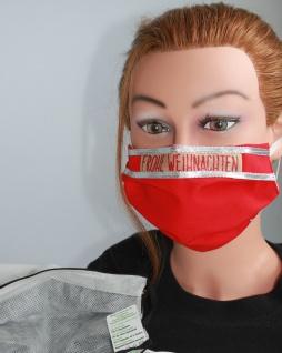 Textil Design Maske aus Baumwolle, mit zertifiziertem Innenvlies - Frohe Weihnachten - 15895
