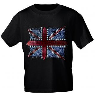 T-Shirt mit hochwertiger Glitzer-Stein-Applikation - Union Jack - 12895 schwarz - Gr. L