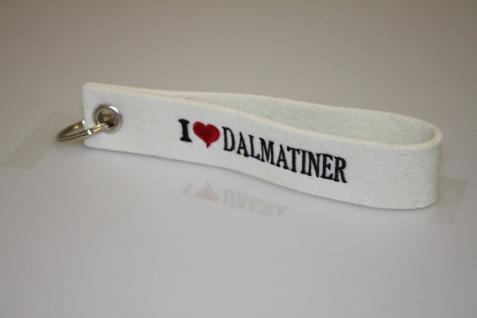 Filz-Schlüsselanhänger mit Stick - I love Dalmatiner - Gr. ca. 17x3cm - 14381