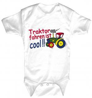 Babystrampler mit Print ? Traktorfahren ist cool ? 08393 weiß - 6-12 Monate