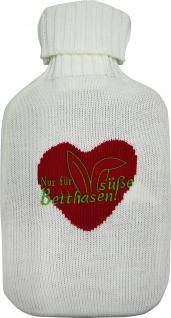 Wärmflasche mit Einstickung - Herz - 39381 weiß-rot