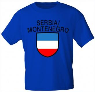 Kinder T-Shirt mit Print - Serbia Montenegro - Serbien Montenegro - 76112 - blau - Gr. 98/104