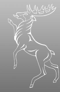 """PVC- Applikations- Aufkleber """" Hirsch"""" 25 cm groß in 8 Farben AP2034 weiß"""