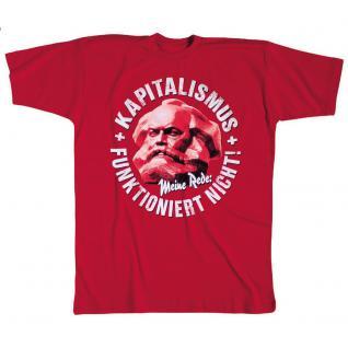 T-Shirt mit Print - Kapitalismus funktioniert nicht - 09932 - rot - Gr. XXL