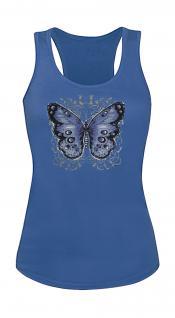 "(T06992) Tank- Top mit edlem Aufdruck "" Schmetterling"" in 5 Farben blau / L"