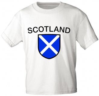 Kinder T-Shirt mit Print - Scotland - Schottland - 76191 - weiß - Gr. 98/104