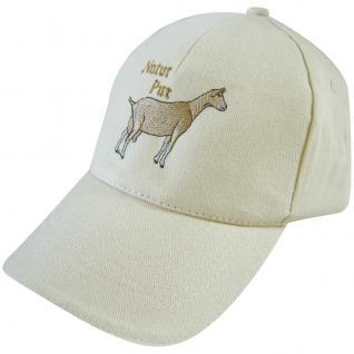 Baumwollcappy - Cap mit Tier - Stick - Natur pur Ziege - 69696 weiss - Baumwollcap Baseballcap Schirmmütze Hut