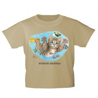 Kinder T-Shirt mit Print Cat Katze Taucher Fische KA065/1 Gr. 122-164