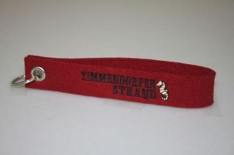 Filz-Schlüsselanhänger mit Stick - Timmendorfer Strand - Gr. ca. 17x3cm -14328