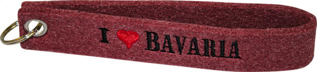 Filz-Schlüsselanhänger mit Stick I love Bavaria Gr. ca. 19x3cm 14014 dunkelrot