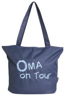 Umhängetasche mit Einstickung dunkelblau- Oma on Tour - 08974 - Eikaufstasche Bag