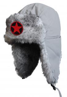 Chapka Fliegermütze Pilotenmütze Fellmütze in grau mit 28 verschiedenen Emblemen 60015 Stern im Kreis