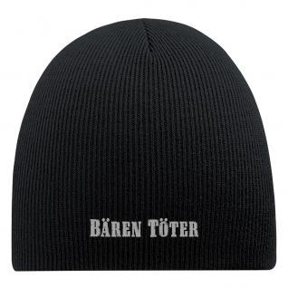 Beanie-Mütze mit Einstickung - BÄRENTÖTER - Wollmütze Wintermütze Strickmütze - 54806 schwarz