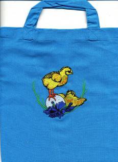 """Kindertasche Baumwolltasche mit schönem Stickmotiv """" KÜKEN AUF EI"""" NEU (12367 royalblau) Tasche Kindergartentasche"""