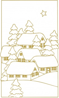 Wandtattoo Dekorfolie Weihnachtsbild WD0808 - gold / 120cm