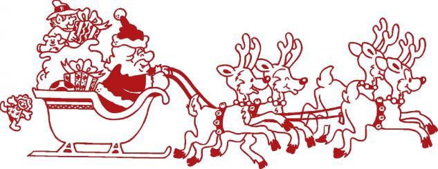 Wandtattoo Dekorfolie Weihnachtsmann mit Schlitten WD0807 - rot / 120cm
