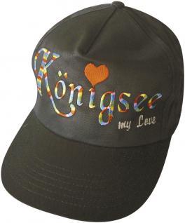Schirm-Cap mit Regenbogen-Farbener Einstickung - Königssee my Love Herzchen - 68068 schwarz - Baumwollcap Baseballcap Hut Schirmmütze Cappy