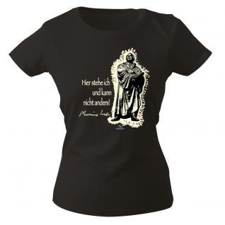 Girly-Shirt mit Aufdruck in 3 Farben Luther Gr. S ?XXL 12623 schwarz / XL