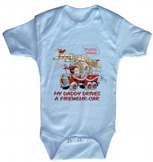 Babystrampler mit Print ? MY Daddy drives a firedepartment car - 08314 blau ? Gr. 6-12 Monate