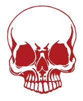 Aufkleber Applikation - Totenkopf Skull Schädel - AP1705 rot / 25cm
