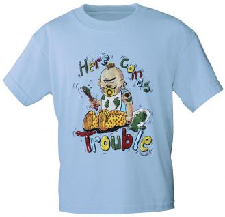 Kinder T-Shirt mit Print - Here comes trouble - 08139 - hellblau - Gr. 98/104