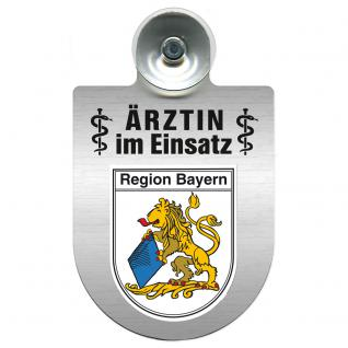 Einsatzschild Windschutzscheibe incl. Saugnapf - Ärztin im Einsatz - 309479-2 Region Bayern