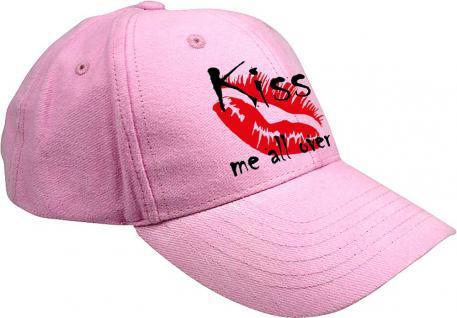 Baseballcap mit farbiger Bestickung - Kußmund Kiss me all over - 52106 pink - Baumwollcap Cap Cappy Schirmmütze Hut