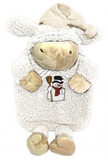 Wärmflasche Schaf Wollschäfchen mit Einstickung Schneemann 39327 weiß