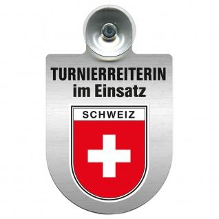 Einsatzschild mit Saugnapf Turnierreiterin im Einsatz 309478 Region Schweiz