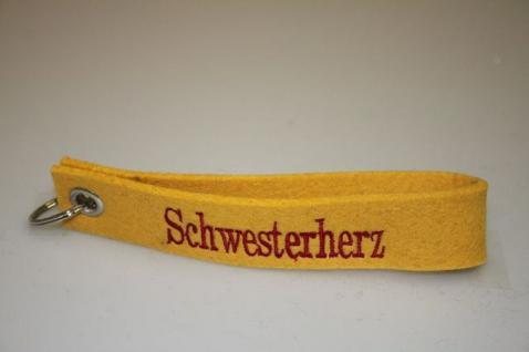Filz-Schlüsselanhänger mit Stick - Schwesterherz - Gr. ca. 17x3cm - 14287