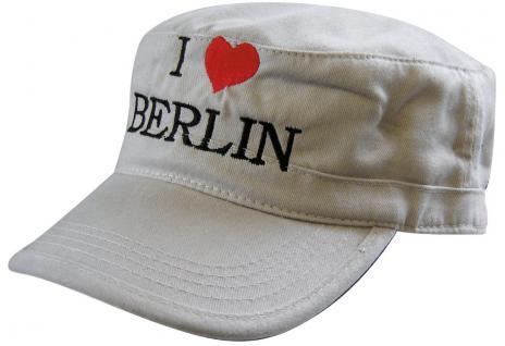 MilitaryCap mit Berlin - Stick - I love Berlin Herz - 60516-1 weiß - Baumwollcap Baseballcap Hut Cappy Schirmmütze