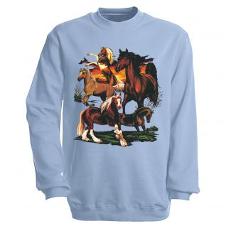 """Sweat- Shirt mit Motivdruck in 6 Farben """" Pferde"""" S12668 hellblau / XL"""