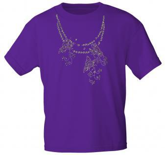 (12852) T- Shirt mit Glitzersteinen Gr. S - XXL in 13 Farben L / lila