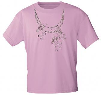 (12852) T- Shirt mit Glitzersteinen Gr. S - XXL in 13 Farben rosa / L