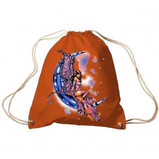 Trend-Bag Turnbeutel Sporttasche Rucksack mit Print - Fee auf dem Mond - TB10899 Orange